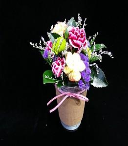 커피컵 꽃장식